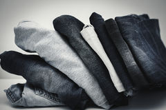 Pile of Jeans. Pile of blue stylish Jeans Royalty Free Stock Image