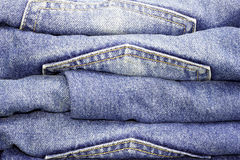Pile of Jeans. Old blue jeans Royalty Free Stock Photography