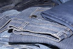 Pile of jeans. Ready for recycling Royalty Free Stock Photo