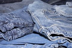 Pile of jeans. Ready for recycling Stock Photography