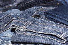 Pile of jeans. Ready for recycling Stock Image