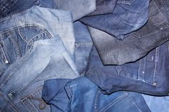 Pile of jeans. Ready for recycling Stock Photo