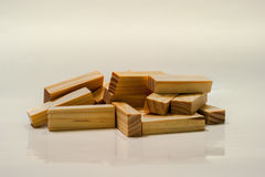Pile of jenga blocks Royalty Free Stock Photography