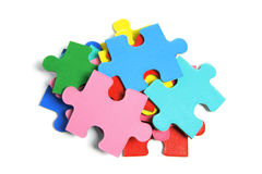 Pile of Jigsaw Puzzle Pieces. On White Background Royalty Free Stock Photo