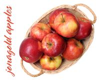 A pile of jonagold apples. In bamboo basket Stock Photography
