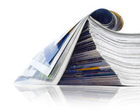 Pile of journals. A large stack of magazines piled high stock photo