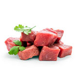 Pile of juicy beef cubes, macro. Soft focus Stock Image
