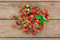Pile of just gathered strawberries Stock Photo