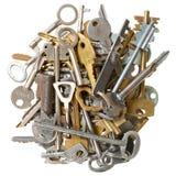Pile of keys isolated Royalty Free Stock Photo