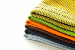 Pile of  kitchen towels Stock Photos