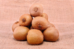 Pile of kiwi on sackcloth background Royalty Free Stock Photos