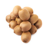 Pile of kiwifruits isolated. Pile of multiple kiwifruits or chinese gooseberry kiwi isolated over the white background Royalty Free Stock Photography