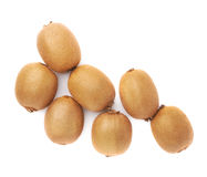 Pile of kiwifruits isolated. Pile of multiple kiwifruits or chinese gooseberry kiwi isolated over the white background Royalty Free Stock Images