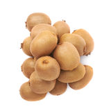 Pile of kiwifruits isolated. Pile of multiple kiwifruits or chinese gooseberry kiwi isolated over the white background Royalty Free Stock Image