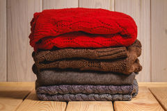 Pile of knitted sweaters Royalty Free Stock Photo