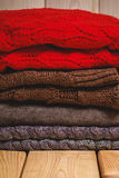 Pile of knitted sweaters Stock Photography
