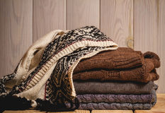 Pile of knitted sweaters Stock Photo