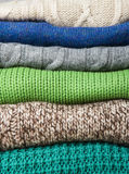 Pile knitted things. background texture Royalty Free Stock Photo