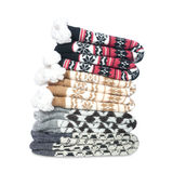 Pile knitted warm socks Royalty Free Stock Photos