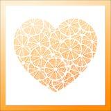 Pile of lemon slices pattern heart frame Royalty Free Stock Photo