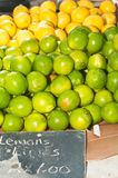 Pile of lemons and limes displayed at a farmers market. Pile of lemons and limes displayed and for sale  at a tropical farmers market Stock Photos