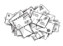 Pile of letters. Pile of retro letters. Doodle drawing. Vector EPS 10 Royalty Free Stock Photo