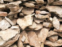 Pile of light natural stone pieces Royalty Free Stock Image