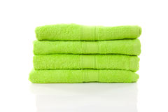 Pile of lime green towels Royalty Free Stock Image