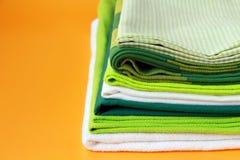 Pile of linen kitchen towels Stock Photos