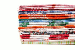 Pile of linen kitchen towels Royalty Free Stock Photo