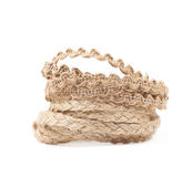 Pile of a linen rope string isolated Stock Image
