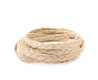 Pile of a linen rope string isolated Royalty Free Stock Photos
