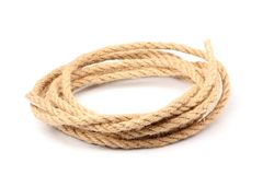 Pile of a linen rope string isolated. Stock Images