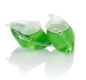 Pile of liquid laundry detergent sachets Stock Photo