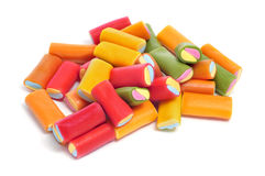 Liquorice candies. A pile of liquorice candies of different colors on a white background Stock Photo