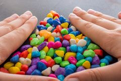 Pile of colorful pebbles as a stone background Royalty Free Stock Photos