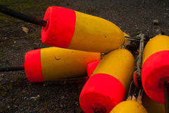 Pile of lobster buoys Royalty Free Stock Images