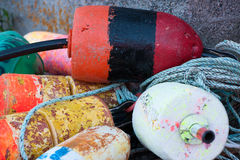 Pile of lobster buoys Stock Images