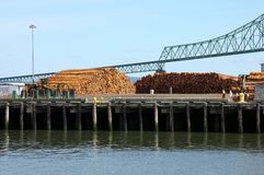 Pile of logs on decks & the Astoria bridge, OR. Stock Images
