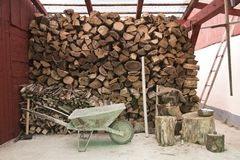 Pile of logs for firewood Stock Photography