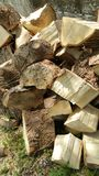 Pile of logs. Pile of freshly cut logs stacked pell mell Stock Photography