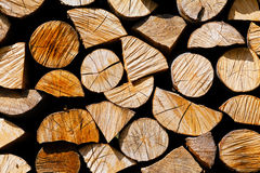 Pile of logs. Log pile prepared for winter Stock Image