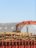 Pile of logs at the port ready for loading to ships Royalty Free Stock Photos