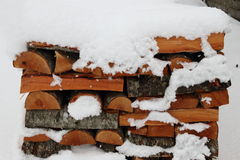 Pile of logs in winter Royalty Free Stock Photo