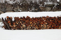 Pile of logs in winter Royalty Free Stock Image