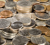 Pile of loose US coins in macro stock image