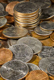 Pile of loose US coins in macro Stock Photography