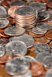 Pile of loose US coins in macro royalty free stock photo