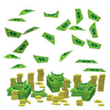 Pile a lot of coins and paper money dollar vector illustration