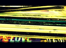 Pile of LP record sleeves royalty free stock photo